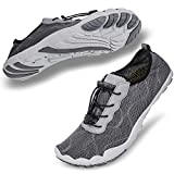 hiitave Men Barefoot Water Shoes Beach Aqua Socks Quick Dry for Outdoor Sport Hiking Swiming Surfing Gray 10.5/11 M US Men