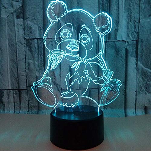 HHR 3D nachtlampje, Panda kleurrijke touch-afstandsbediening acryl led zichtbaar licht 3D illusie nachtlampje sfeer, 3D kleine tafellamp baby slaapkamer decoratie geschenk Touch Remote