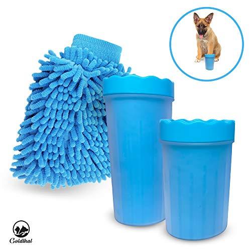 Goldthal® Das ORIGINAL Hunde Pfotenreiniger für große und normale Pfoten mit Microfaser Handschuh, Keine schmutzige Pfoten mehr, schnell und gründlich reinigen,weiche Reinigungsbürste (normal/medium)