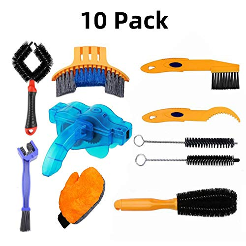 YKLL 10PCS Set Bike Cleaning Brush Tools Kit, Bicycle Chain Cleaner Brush Set for Chain/Crank/Spracket/Tire Corner Rust Blot Dirt Clean