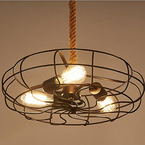 Lying Lustre Europe du Nord Retro Industrial Wind Internet Cafés Bar Fer Chandelier Fan trouver (Couleur : B)