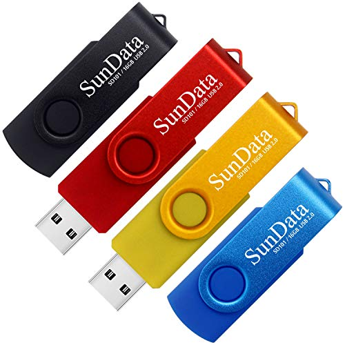 SunData 16GB Memorias USB 4 Piezas PenDrives 16GB Unidad Flash USB2.0 Giratoria Pen Drive con Luz LED (4 Colores: Negro Azul Rojo Oro)