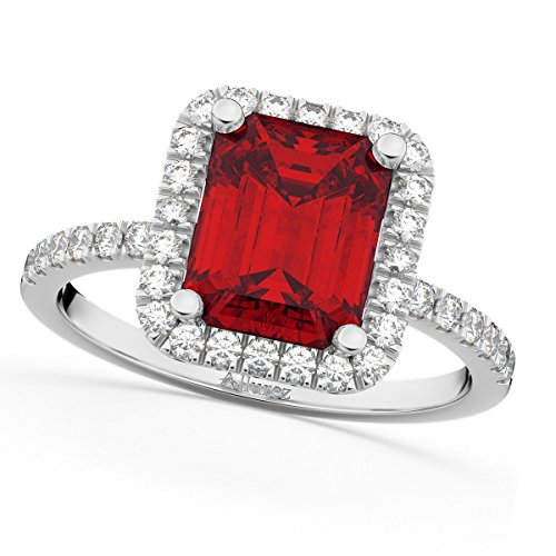(3.32ct) 14k White Gold Emerald Cut Ruby with Diamonds Engagement Ring