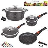 Kamberg - 0008166 - Set Lot Batterie de cuisine 10 pièces - Fonte d'aluminium - Revêtement pierre - Tous feux dont induction - Manche amovible - Sans PFOA