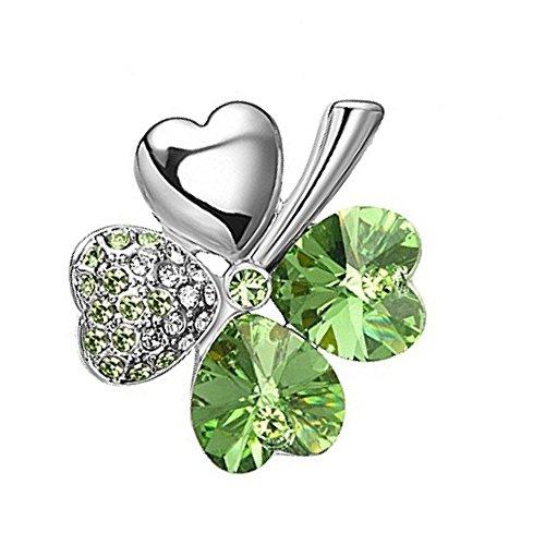 Kleeblatt Smaragd Magnet Kettenanhänger Glücksklee smaragdgrün 1A grün Schimmernde Swarovski Kristalle in Herzform Energetix 4you 1646g inkl. Kette