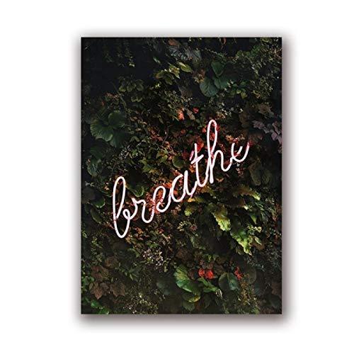 Cartel botánico para pared, diseño de neón con plantas tropicales, impresión de neón en lienzo impreso, póster botánico, decoración de la habitación del hogar, (50 x 70 cm), sin marco