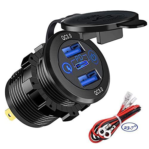 GemCoo Tipo C PD y QC3.0 Toma USB Coche de 45 W y QC3.0 22,5 W 12 V / 24 V Enchufe para Cargador de Coche con Interruptor Impermeable Carga 3.0 para Barco Marino Motocicleta RV ATV