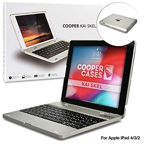 Apple iPad 2/3/4 Custodia con Tastiera Bluetooth, Cooper Kai SKEL P1 Custodia Rigida con Tastiera Bluetooth QWERTY Wireless con Batteria Esterna per Apple iPad 2/3/4 Argento