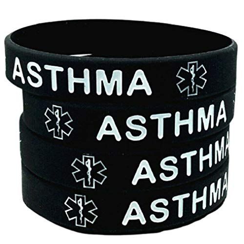 Asthma Asthmatic MEDICAL ALERT Bracelet Survival Band Silicone Wristband Adult (Black)