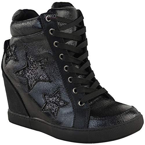 Fashion Thirsty Damen High-Top-Sneaker mit verstecktem Keilabsatz & Schnürung - Glitzer - Schwarz Kunstleder - EUR 37