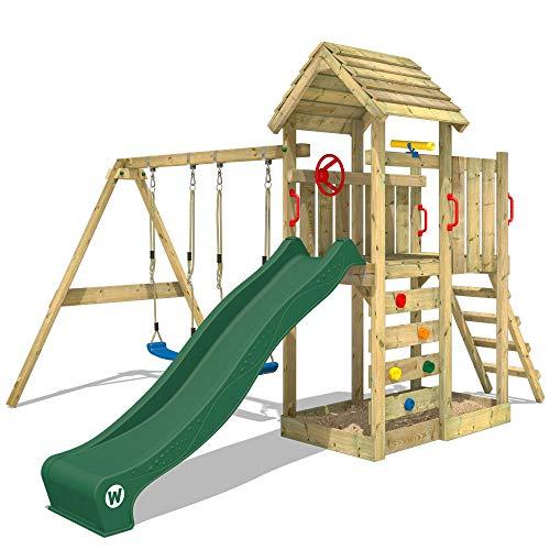 WICKEY Parco giochi in legno MultiFlyer Giochi da giardino verde con altalena e scivolo, Torre di arrampicata da esterno con sabbiera per bambini