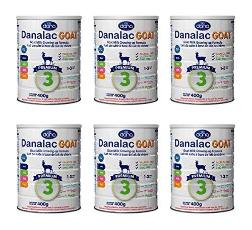 DANALAC PREMIUM Lait de croissance pour bébé à base de lait de Chèvre 3ème âge - pour jeunes enfants et nourrissons de 1 à 3 ans - Formule EU-2020 (400 g - Lot de 6)
