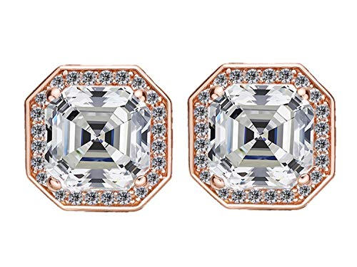 NANA Asscher Cut Halo Earrings in Sterling Silver with a 14k Post-7.0mm-Rose gold flashed