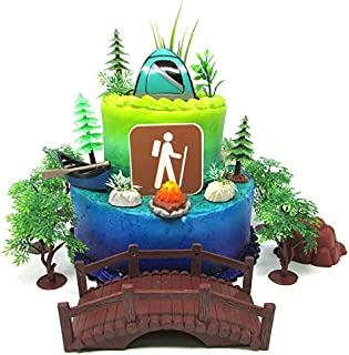 Outdoor Camping Hiking Recreational Themed Birthday Cake Topper Set with Themed Decorative Accessories