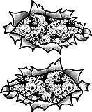 Pequeño Pareja de Oval Rasgado Abierto Desgarrado Efecto Metal Diseño con Blanco y Negro Estilo Tatuaje Rosas y Calaveras Vinilo Casco de la Moto Pegatina 85x50mm Each