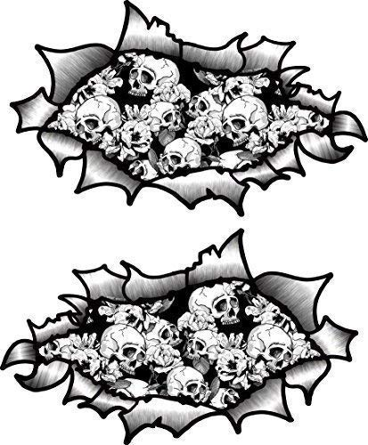 klein Hand Paar OVAL gerippt offenes Zerrissen Metall-Effekt Design mit B&W Tattoo-Stil Totenkopf & Roses Vinyl Motorrad Helm Aufkleber 85x50mm each