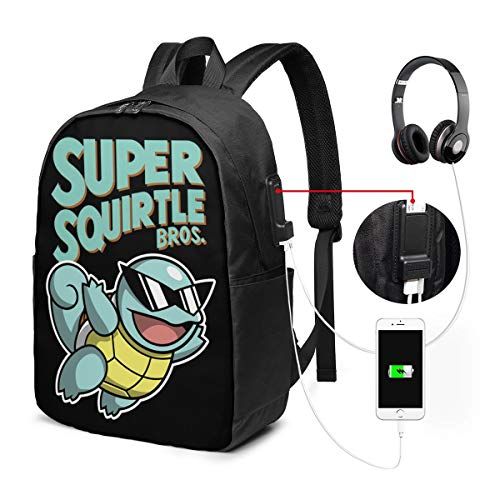 Super Squirtle Bros Novel USB Backpack 17 in Laptop Backpack