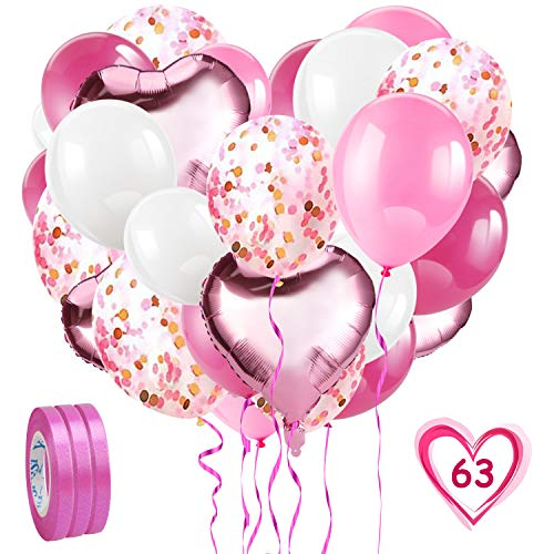 HOWAF Rosa Luftballon Set, 60 Stück Rosa Konfetti Luftballons Set, Folienballon & Latex Ballons mit Bändern für Geburtstag, Hochzeit, Babyparty deko, Taufe Mädchen Dekoration