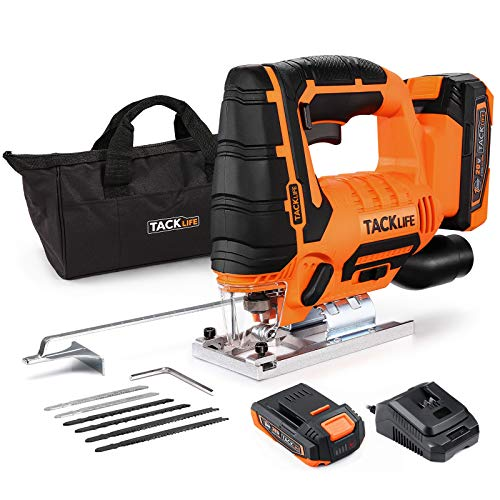 Jigsaw, TACKLIFE 20V 2.0Ah Max Cordless Jig Saw with Battery & Charger, 6 Blades,0~2700 SPM,0-45° Bevel Cutting,LED Light,4 Orbital Action,±45°Aluminum Plate, 4/5'' Stroke, Nylon Fabric Bag - DJS20A