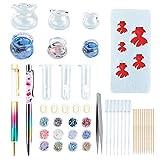 OLYCRAFT 55PCS Molde de Pez Koi En Miniatura Bolígrafos Shaker, Cuenco de Cristal para Peces de Colores, Perla, Juego de Manualidades de Terrario Botánico de Hongos para Manualidades de Resina