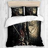 NOLOVVHA Bettwäsche-Set,Mikrofaser,Fantasy Adventure Roman Schrecklicher böser Pirat,1 Bettbezug 200x200 + 2 Kopfkissenbezug