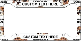 Custom License Plate Frame Serbian Hound Dog Breed Style A Aluminum Cute Car Accessories Wide Top Personalized Text Here One Frame