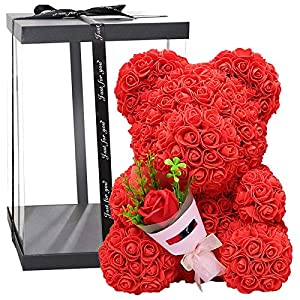 Silk Flower Arrangements Taylore Rose Bear, 40cm Rose Teddy Bear with Clear Gift Box, for Mothers Day, Valentines Day, Anniversary & Bridal Showers, Red/White