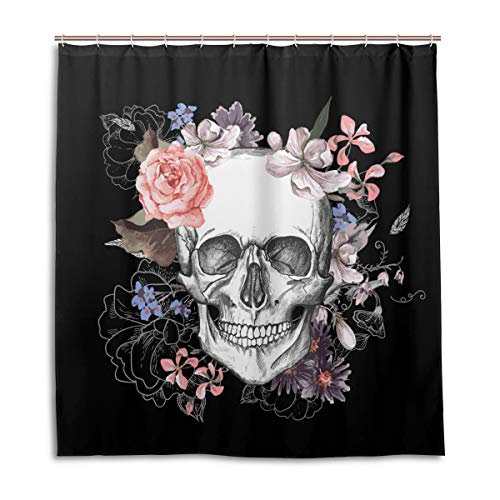 BIGJOKE Duschvorhang, Halloween-Totenkopf-Blumenkunst, schimmelresistent, wasserdicht, Polyester, 12 Haken, 167,6 x 182,9 cm, Heimdekoration