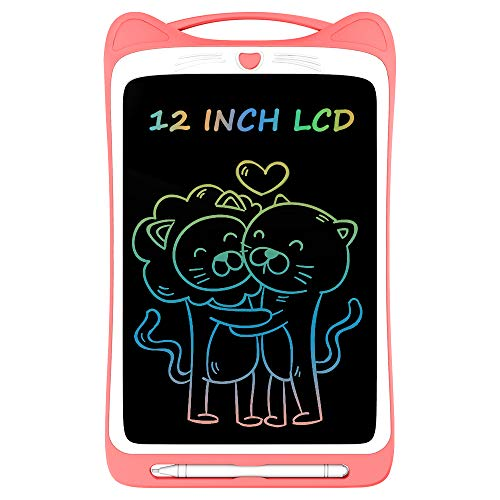 Ksera LCD Writing Tablet for Kids, 12 Inch Colorful Electronic Writing Drawing Doodle Board Tablet Digital Ewriter Pad with Screen Lock Gift for Kids Home School Handwriting Pad Memo Notebook (Pink)