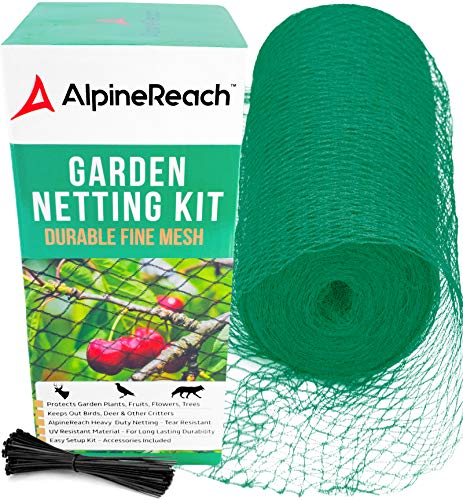 AlpineReach Garden Netting Kit 2m x 20m - Protect Plants Fruits Flowers Trees - Green Woven Mesh Heavy Duty - Stretch Fencing Durable Net with Cable Ties Fine Cover Gift Box Stops Birds Deer Animals
