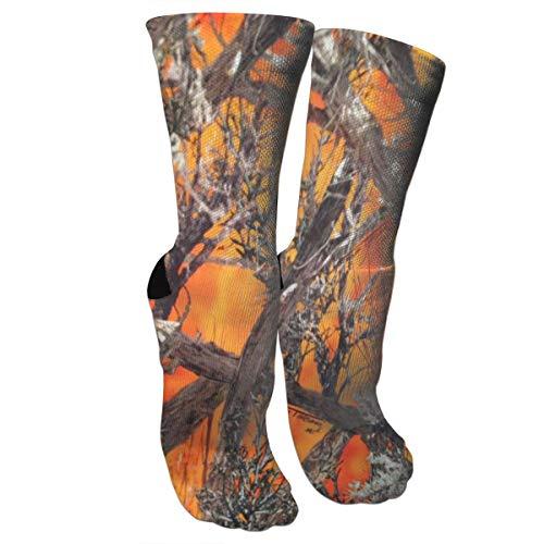 Camo Orange Compression Socks Unisex Printed Socks Crazy Patterned Fun Long Cotton Socks Over The Calf Tube