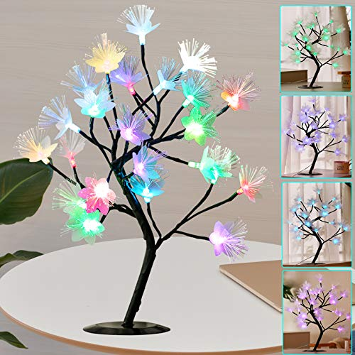 Lighted Tabletop Blossom Flower Tree with Remote, Pre-lit 16Colors Changing LED Artificial Fiber Optic Flower Bonsai Tree Adjustable Branches Table Lamp for Girls Mom Gift Wedding Party Decoration