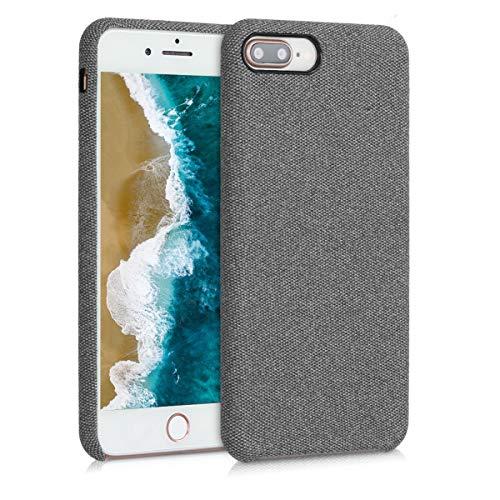kwmobile Funda Protectora Compatible con Apple iPhone 7 Plus / 8 Plus - Case para móvil de TPU Forrada en Tela Gris