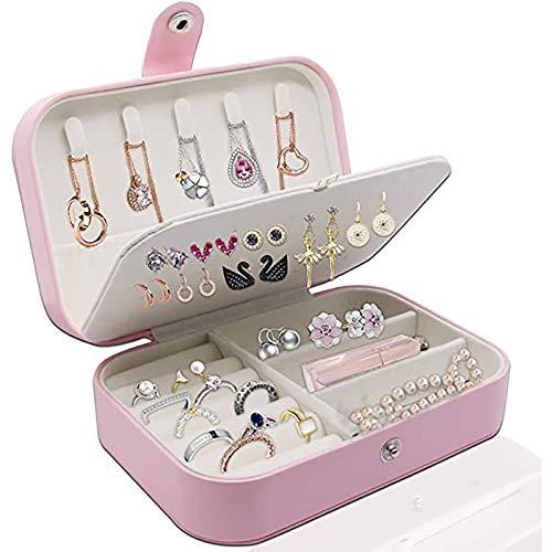 Bias&Belief Organizador de Caja de joyería,Caja de joyería de Cuero PU,Estuche de Almacenamiento de joyería de Viaje para Anillos Pendientes Collar Pulseras Joyero portátil para Mujeres/niñas