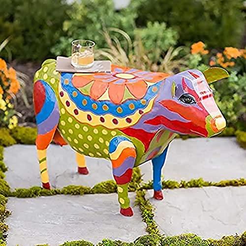 PAULCY Cerdo Patio Mesa Auxiliar Arte Popular Colorido Adornos De Animales Esculturas Muebles ArtesaníA SimulacióN Estatuas De Resina para JardíN Patio Paisaje Cow