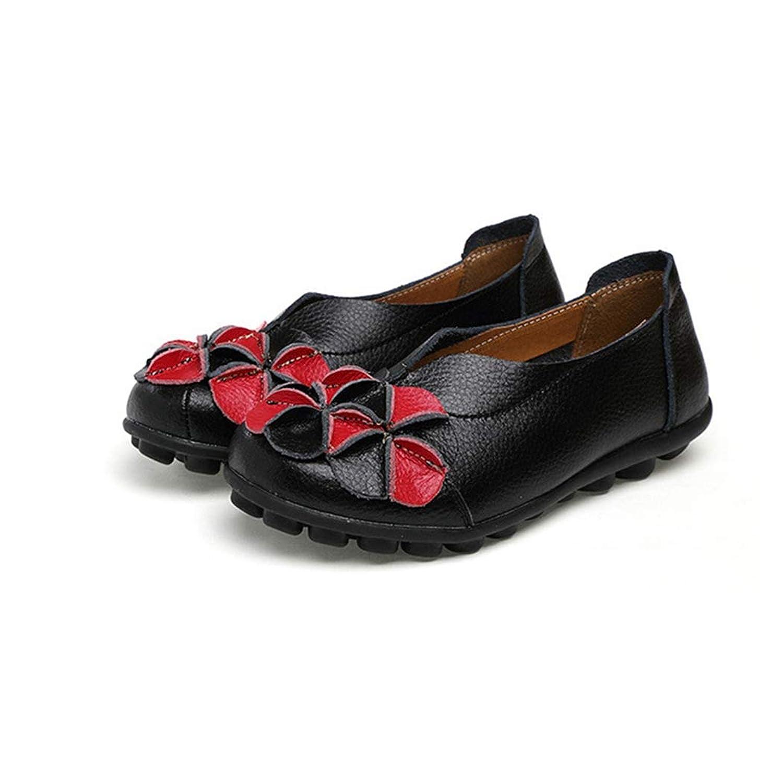 [WOOYOO] ローファー レディース スリッポン 可愛い 花 ドライビングシューズ 婦人靴 柔らかい カジュアル 歩きやすい 大きいサイズ フォーマル 革靴 防滑 クッション インヒール ママシューズ バイカラー