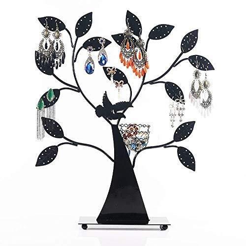 cajas para joyas Soporte de exhibición de joyas, soporte de exhibición de joyas de fortuna creativa de hierro forjado, stand de joyería de escritorio para el hogar personalizado retro con base, negro,