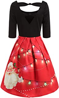 Women's Long Sleeve Casual Santa Christmas Print Flare Swing Dress, 3D Print Unique O Neck Flared Midi Dress