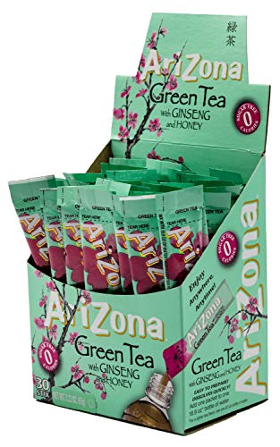 AriZona Green Tea with Ginseng Iced Tea Stix Sugar Free, 30 Count Box (Pack of 1), Low Calorie Single Serving Drink Powder Packets, Just Add Water for a Deliciously Refreshing Iced Tea Beverage