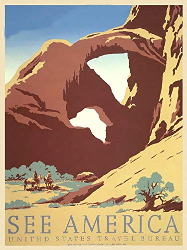 Magnet See America 1930s Arches National Park WPA Travel Magnet Vinyl Magnetic Sheet for Lockers, Cars, Signs, Refrigerator 5'
