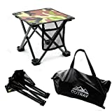 Outrav Camping Stool - Outdoor Travel Folding Small Chair - Portable Stool for Camping, Fishing, Hiking, Gardening, & Beach - Heavy Duty, Lightweight Easy to Carry Camping Seat with Carry Bag (Camo)