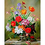 Paint by Numbers Kit for Adults Kids Flowers Paint by Numbers DIY Painting Acrylic Paint by Numbers Painting Kit Home Wall Decoration 40x50cm