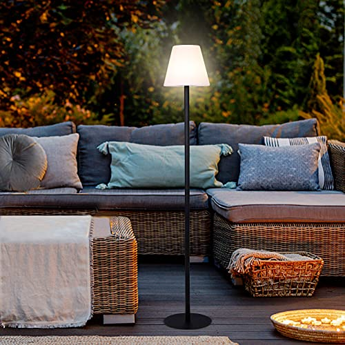Albrillo Lámpara de pie solar LED, Lámpara Solar Exterior con Sensor de Luz, 8 Colores y 3 Modos, Lámpara de Pie Recargable USB de 1800 mAh, Lámpara de Pie Impermeable IP65 para Patio, Balcón, Jardín
