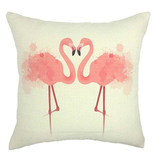 Su smile-flamingo manta de algodón lino fundas para cojín cuadrado fundas de almohada decorativa de 18x 18