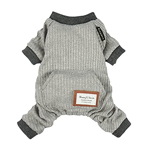 Fitwarm Lightweight Knitted Comfy Pet Clothes for Dog Pajamas PJS Coat Jumpsuit Grey Large