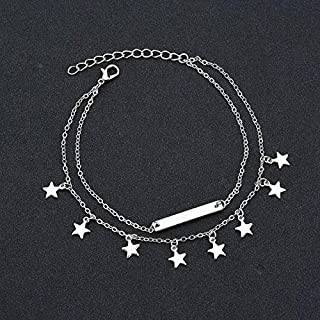 New Fashionable Beauty Chains Antique Plated Stars Pendant Anklet Dual-layer Foot Chain Ankle Bracelet(Gold) (Color : Silver)
