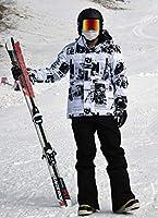 マルユキ スノーボードウェア スキーウェア スノーウェア 耐水圧10,000mm 透湿性5,000g おしゃれ 格好いい メンズ レディース 上下セット 防寒 (スキー・青春, L)