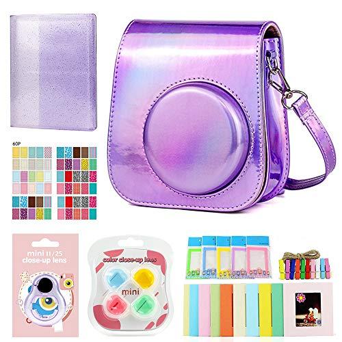 Feizhihai 7 en 1 Accesorios para cámara instantánea compatibles con Instax Mini 11 incluyen caso/álbum/lente de color/marcos de pared para colgar marcos/marcos de película/pegatinas de borde violeta