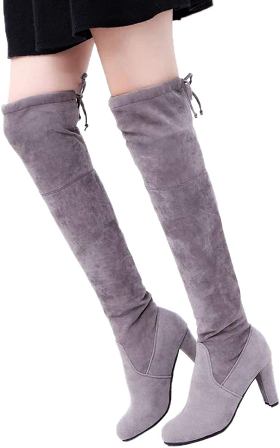 Women Elegant Long Boots Over The Knee High Heel Ladies Snow shoes Thigh High Fashion Lace-up Boots