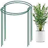 LEOBRO 4 Pack Plant Support Stake, Metal Garden Plant Stake, Green Half Round Plant Suppor...